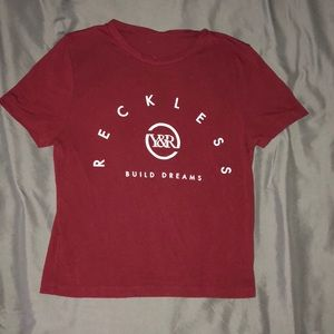 Dark red fitted T-shirt